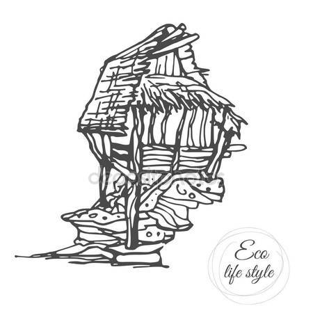 450x450 An Old Wooden House On A Stone With A Thatched Roof In A Sketch