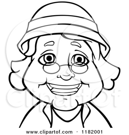 450x470 Cartoon Of A Happy Senior Woman Wearing An Apron
