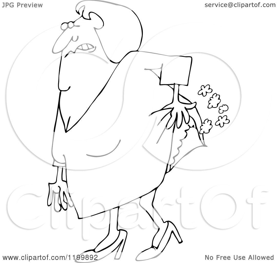 1080x1024 Cartoon Of An Outlined Old Lady Passing Gas