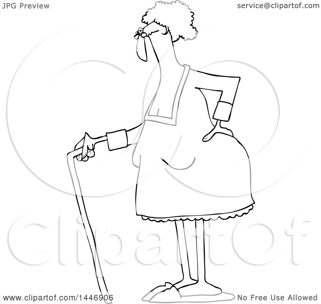 1080x1024 Clipart Of A Cartoon Black And White Lineart Old Lady Standing
