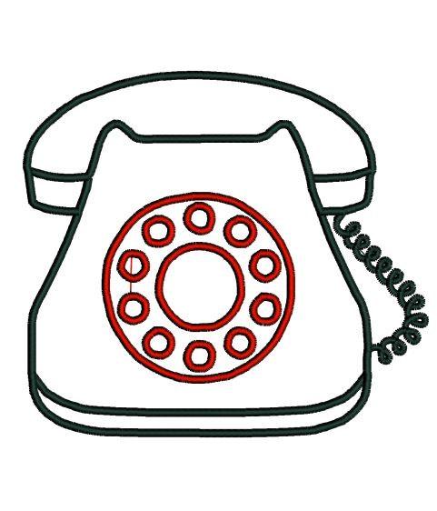 481x562 Telephone Applique Design In 3 Sizes. Retro Phone Applique