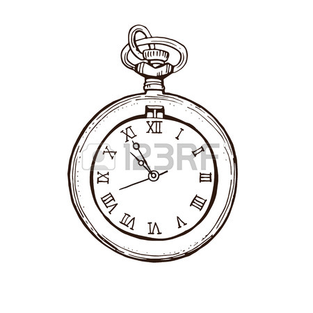 Old Pocket Watch Drawing