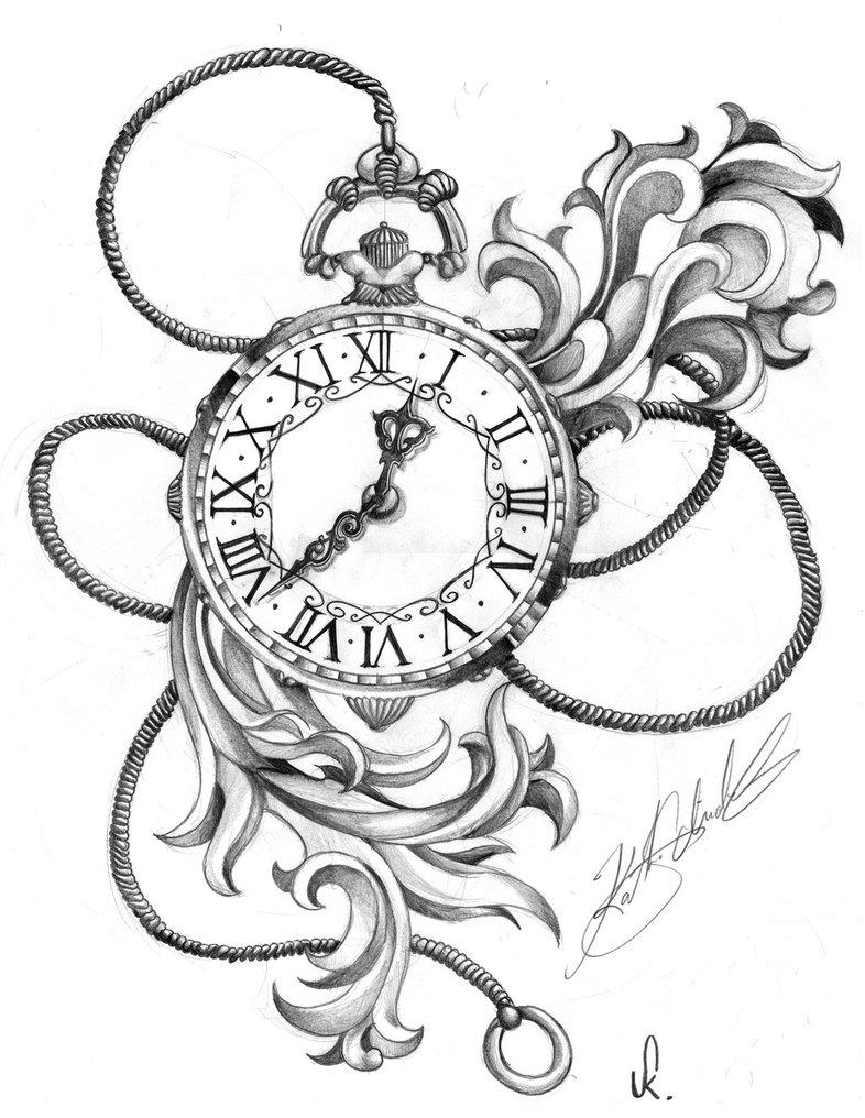 786x1016 Old Pocket Watch Chain Tattoo