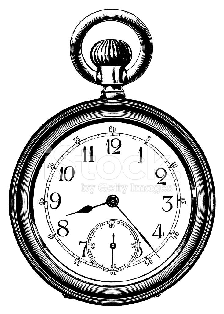 733x1024 Pocket Watch Antique Design Illustrations Stock Vector