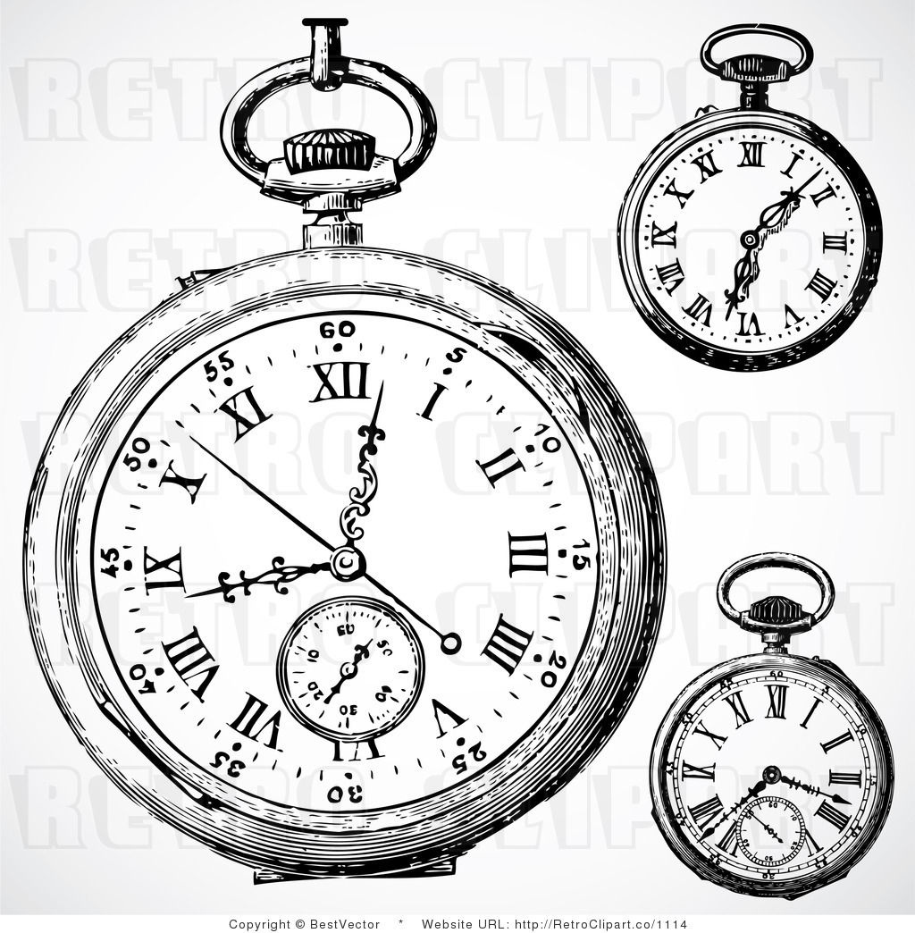 1024x1044 Vintage 70s Drawings Vintage Pocket Watch Clip Art Vintage