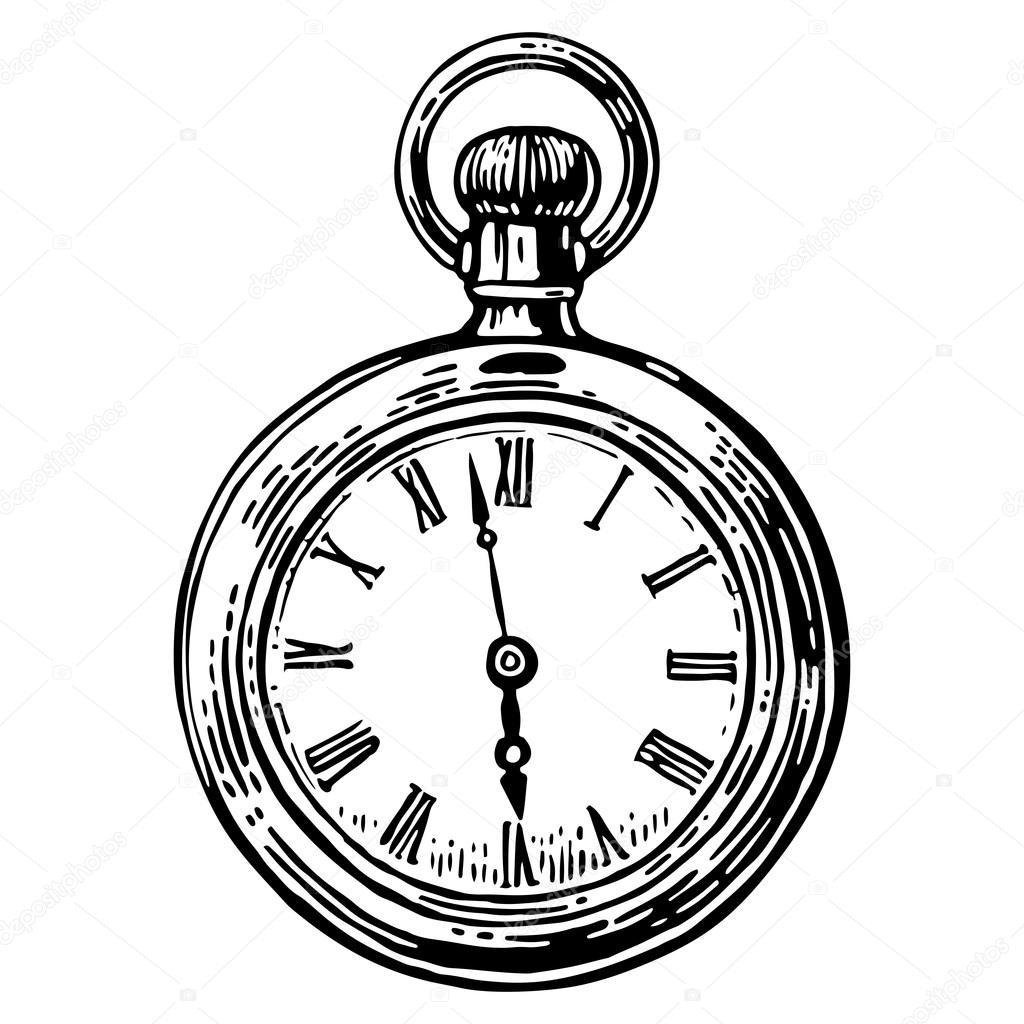 1024x1024 Antique Pocket Watch. Vector Vintage Engraved Illustration. Black
