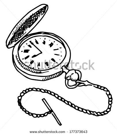 407x470 Drawn Pocket Watch