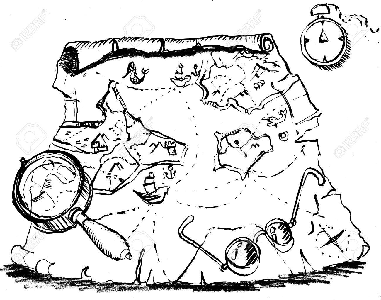 1300x1023 Old Map, Scroll, Fantasy Games, Drawing Stock Photo, Picture