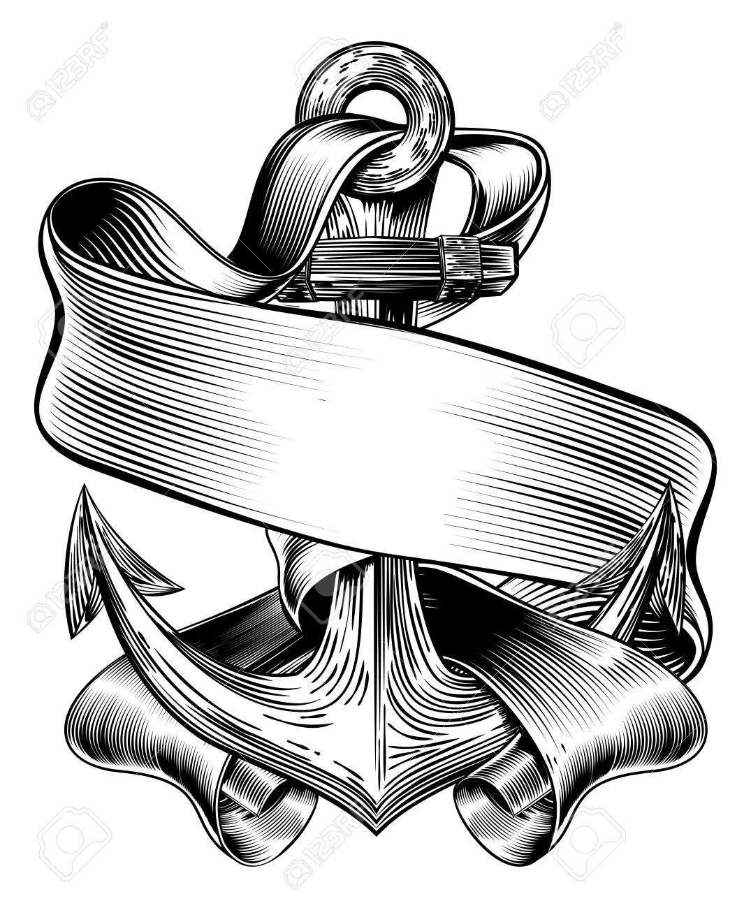 1075x1300 An Original Illustration Of A Ships Anchor And Scroll Banner