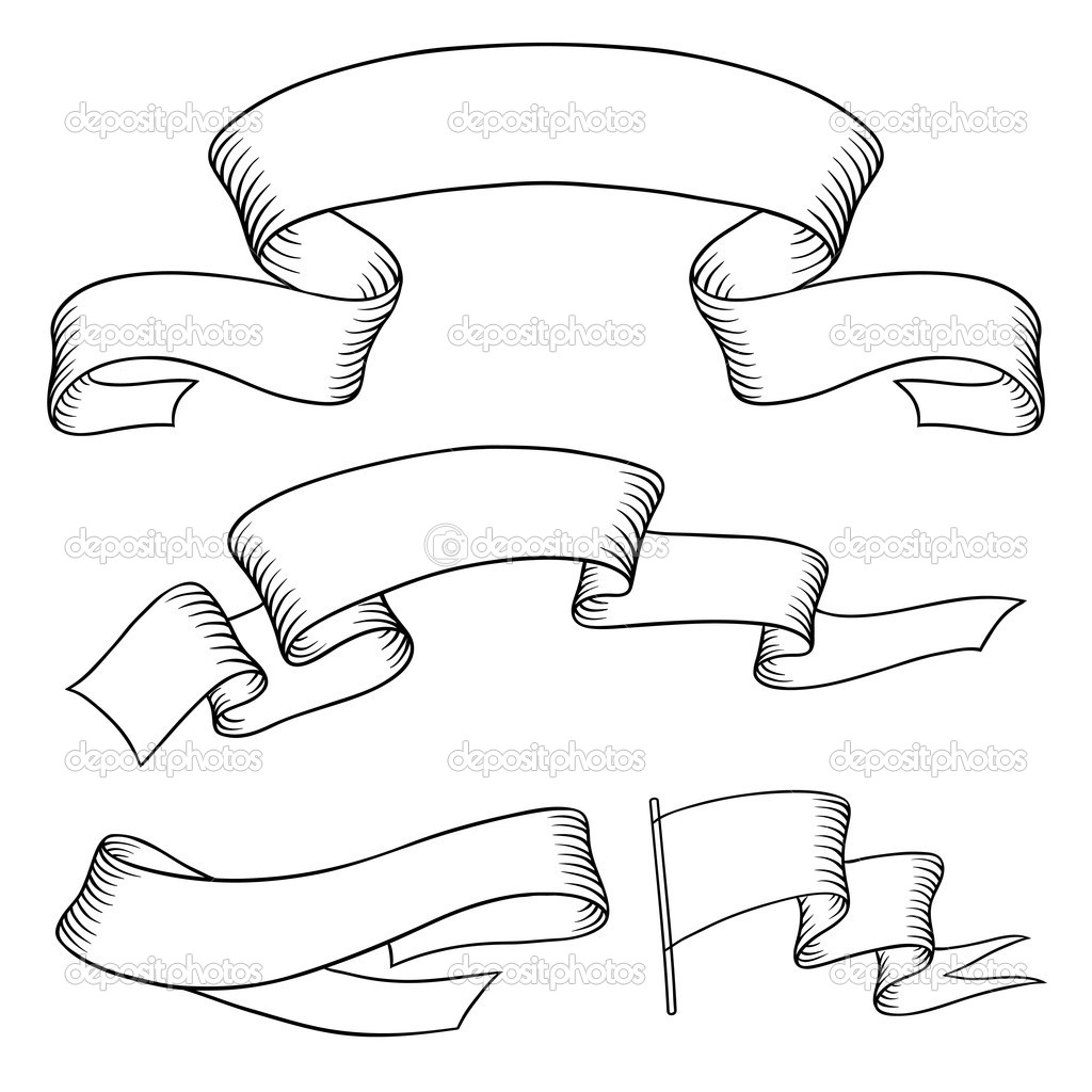 1024x1024 Set Old Vector Banners Hand Drawn Style Hand Lttrng Items