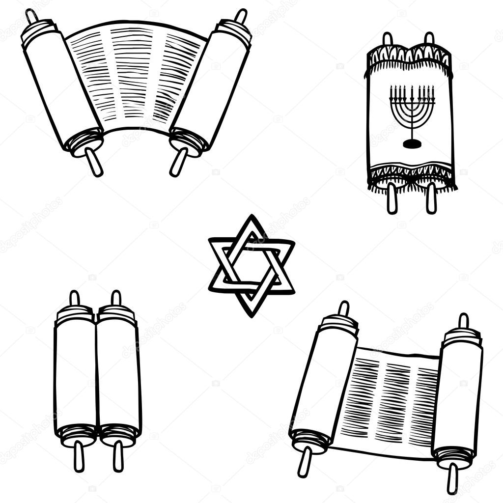 1024x1024 Torah. Old Scrolls In Different Forms. Vector Illustration Stock