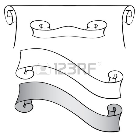 450x450 Vector Set Of Scrolls And Ribbons. Hand Drawing Royalty Free
