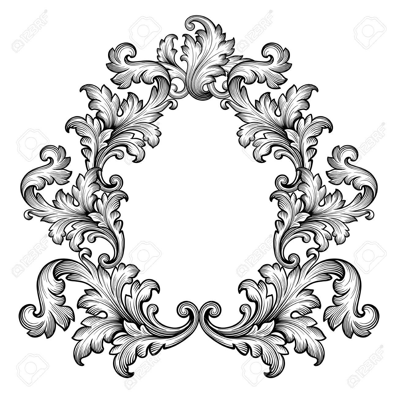 1300x1300 Vintage Baroque Frame Scroll Ornament Engraving Border Retro