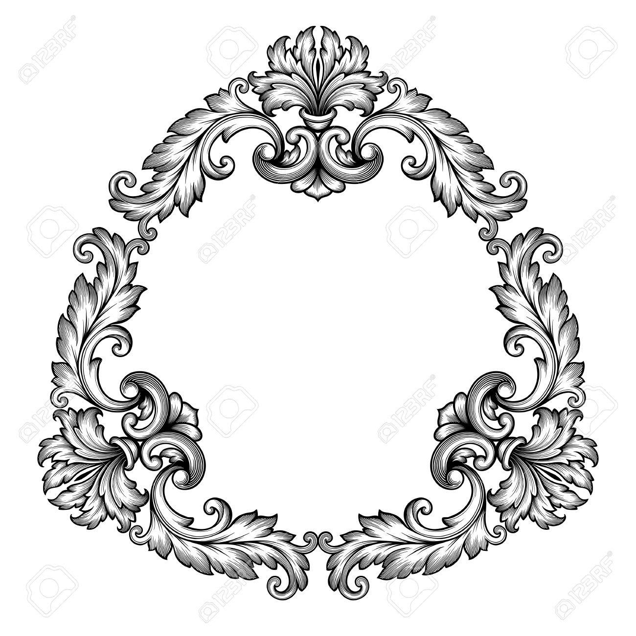 1300x1300 Vintage Baroque Scroll Design Frame Engraving Acanthus Floral