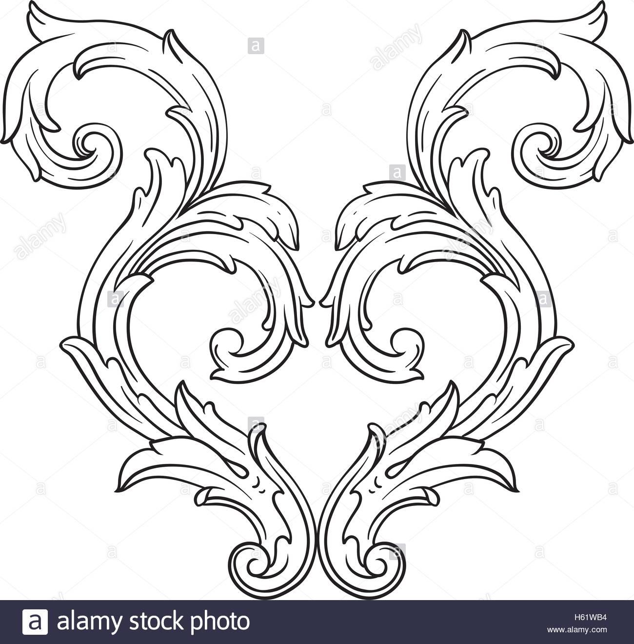1300x1320 Vintage Baroque Frame Scroll Ornament Engraving Border Floral