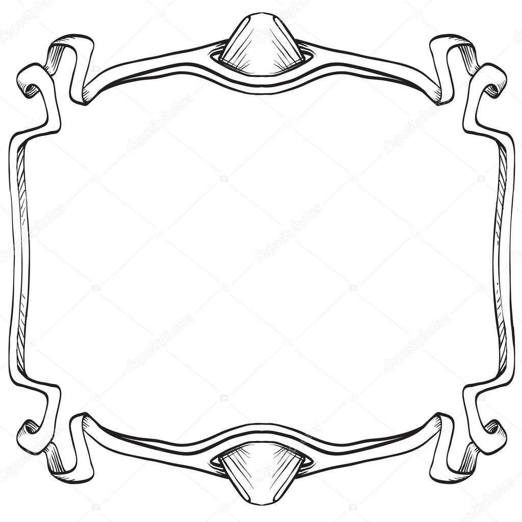 1024x1024 Drawing Hand Vintage Frame Baroque Elements For Advertising
