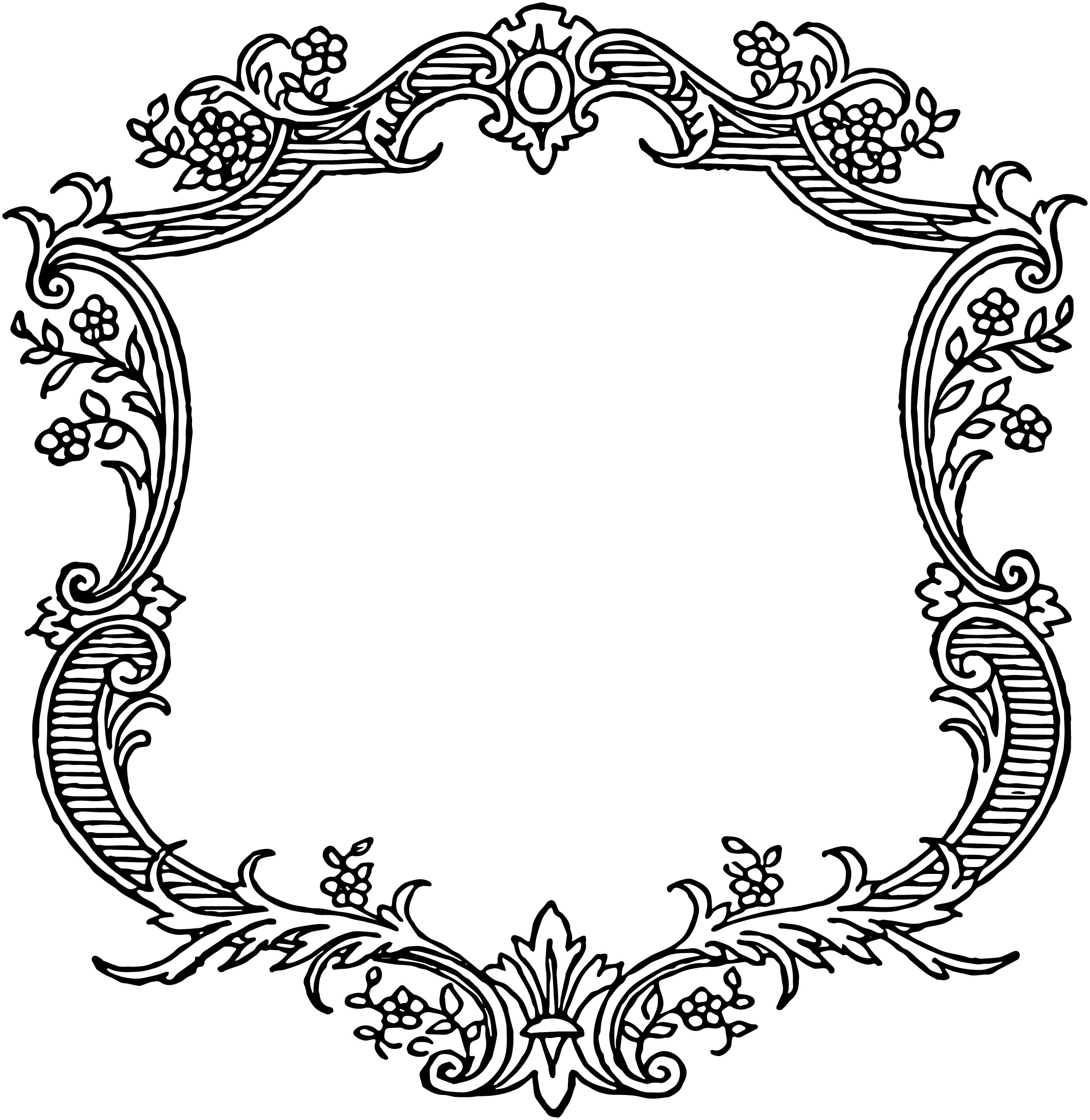 2219x2280 Free Vintage Floral Scroll Border Frame Oh So Nifty Vintage Graphics