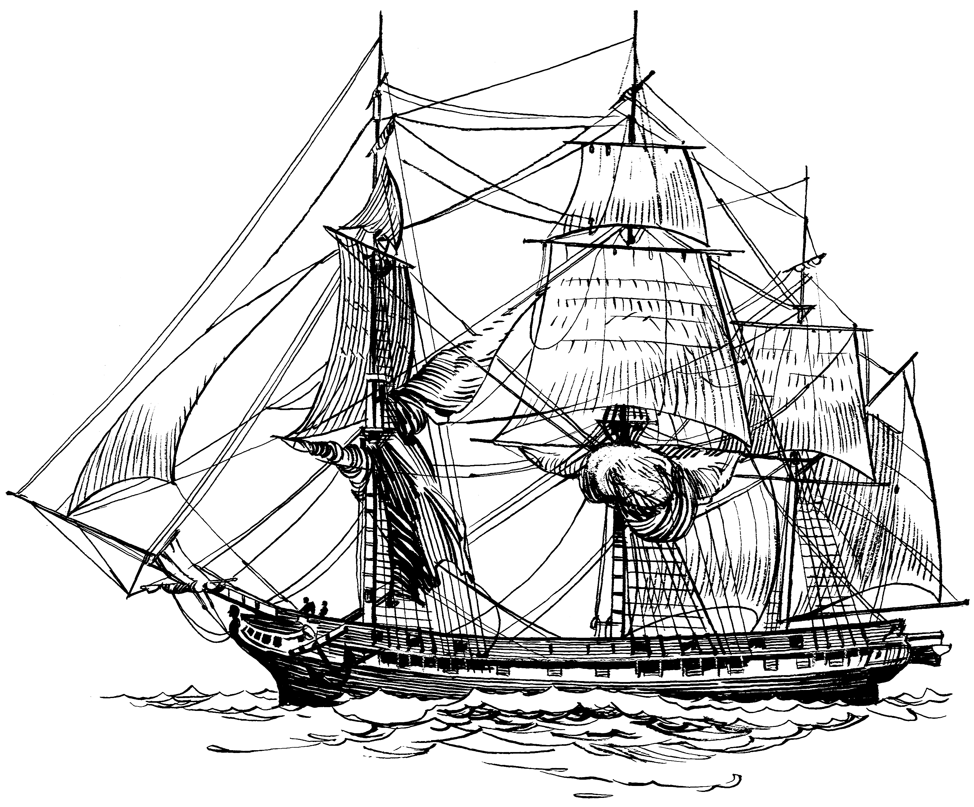 3102x2570 Old Ship Line Drawing Frigate 001 Png Boats