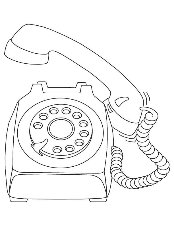 612x792 Vintage Telephone Coloring Page Telephone Coloring Pages