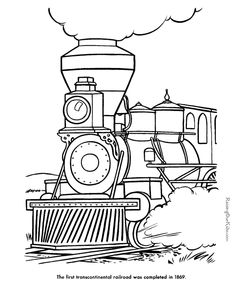235x288 Railroad, Amazing Steam Train On Railroad Coloring Page