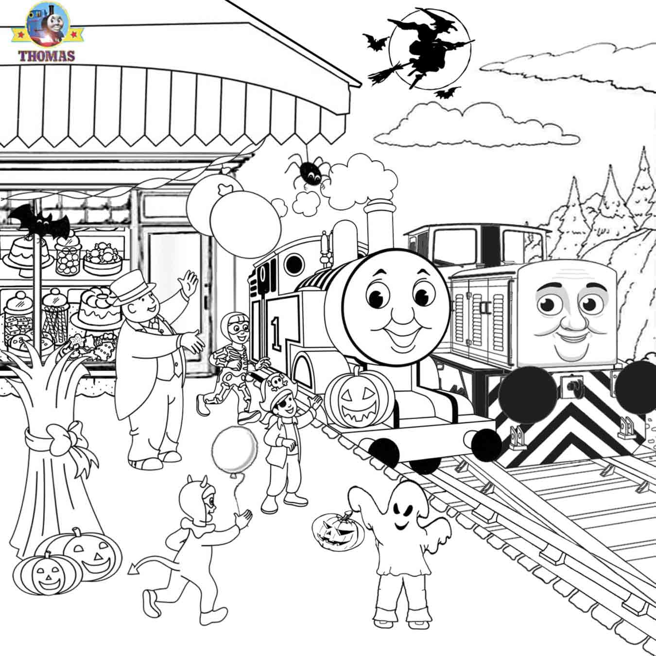 1350x1350 Free Printable Halloween Ideas Kids Activities Thomas Coloring