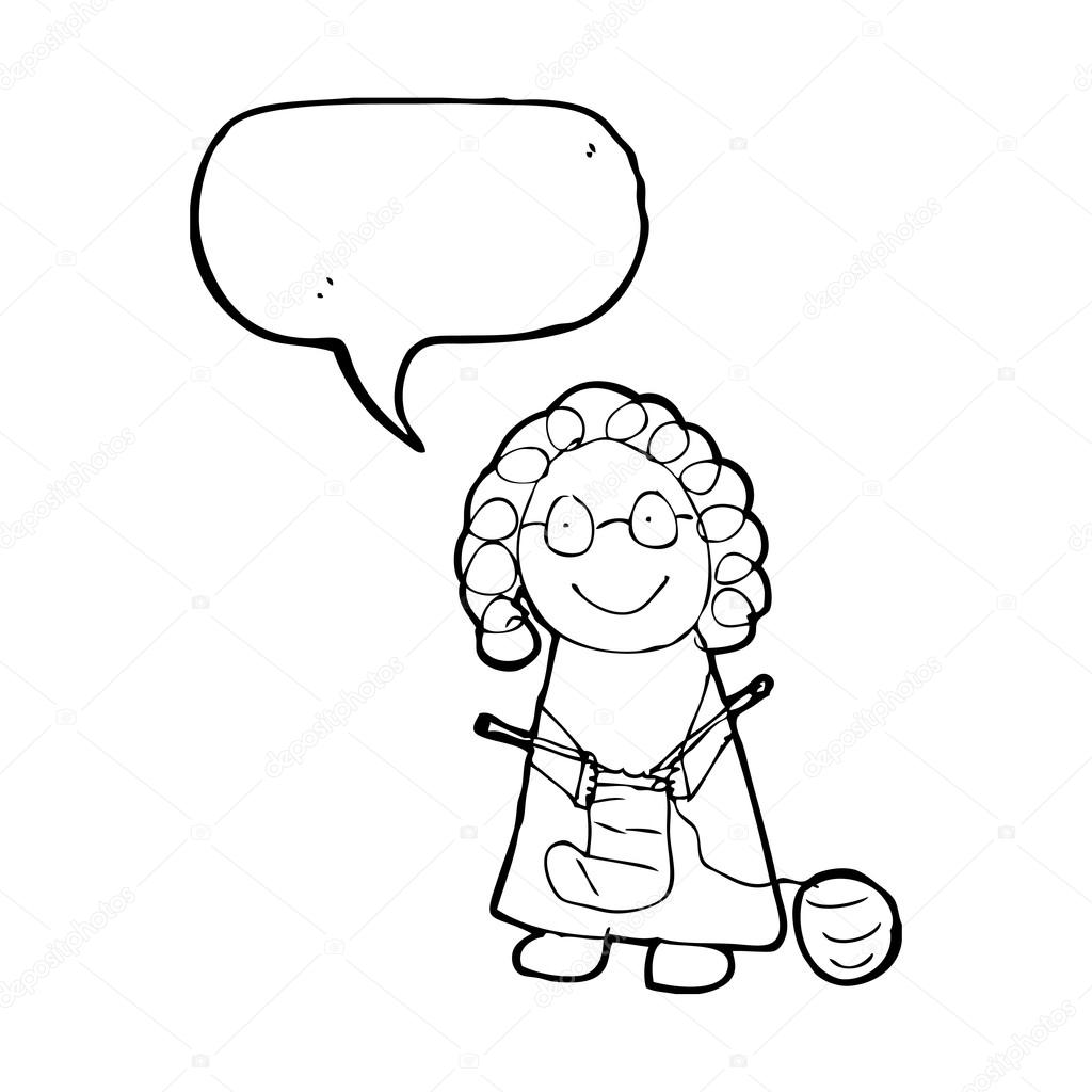 1024x1024 Drawing Of An Old Woman Knitting Stock Vector Lineartestpilot