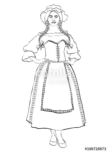 354x500 Girl In French National Costume, Vector Outline Portrait, Black