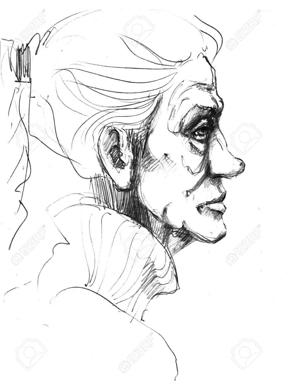 987x1300 Hand Drawn Picture. Pencil Technique. Face Of An Old Woman. Stock