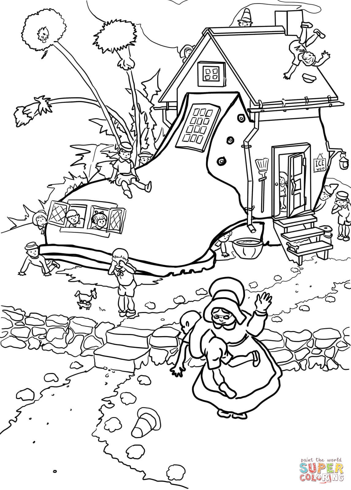 1145x1600 Little Old Woman Who Lived In A Shoe Coloring Page Free