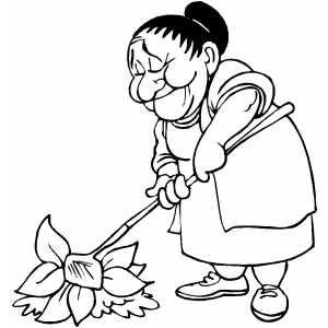 300x300 Old Woman Gardening Coloring Page