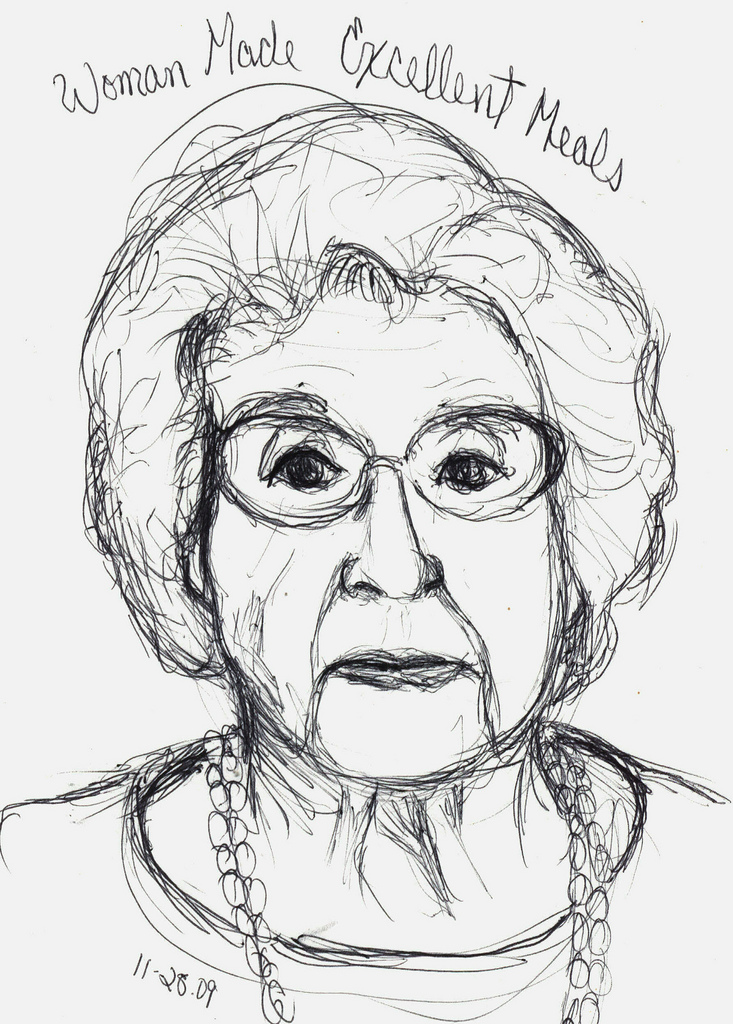 733x1024 11.28.09 100 Year Old Woman Drawn With Ballpoint Pen.