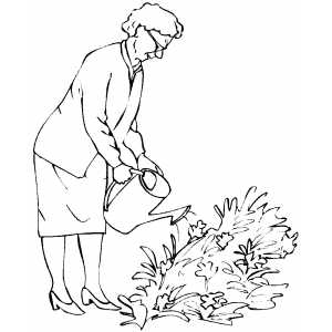 300x300 Old Woman Watering Plants Coloring Page