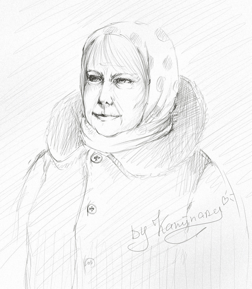 836x959 Old Woman Sketch By Kaminary San