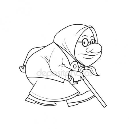 450x450 Ridiculous Caricature Of The Old Woman Vector Illustration