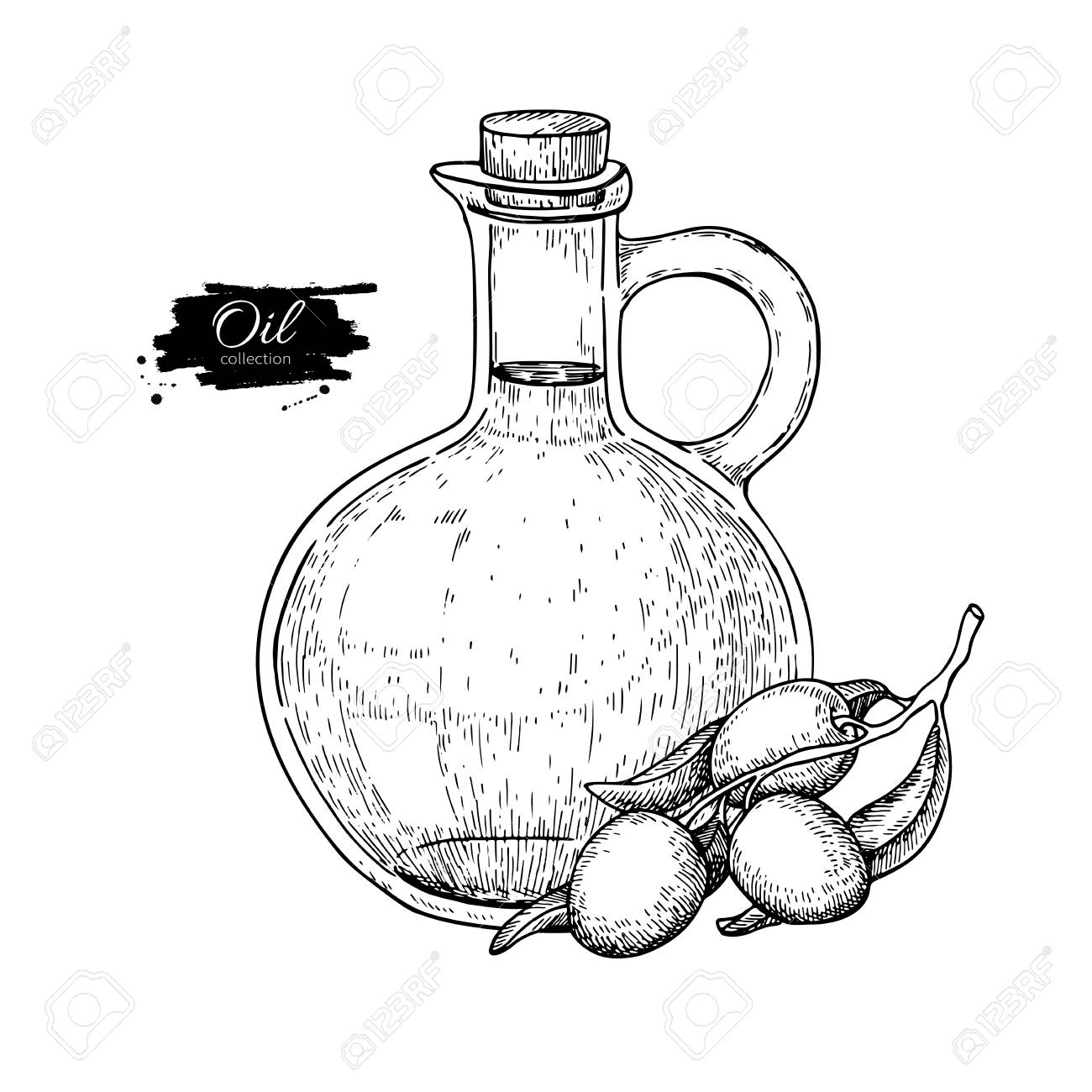 1300x1300 Bottle Of Olive Oil And Olive Branch. Vector Hand Drawn