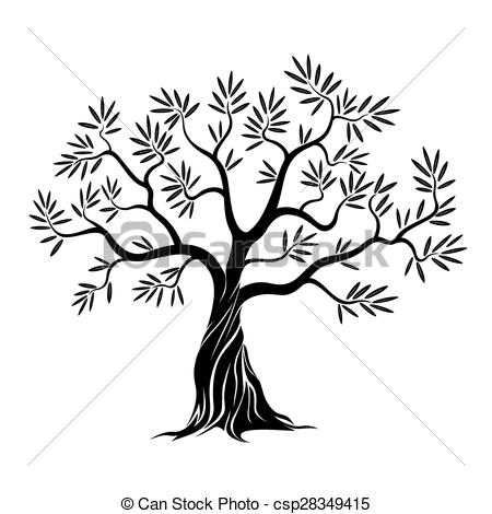 450x470 Black Vector Olive Tree. Vector Clip Art