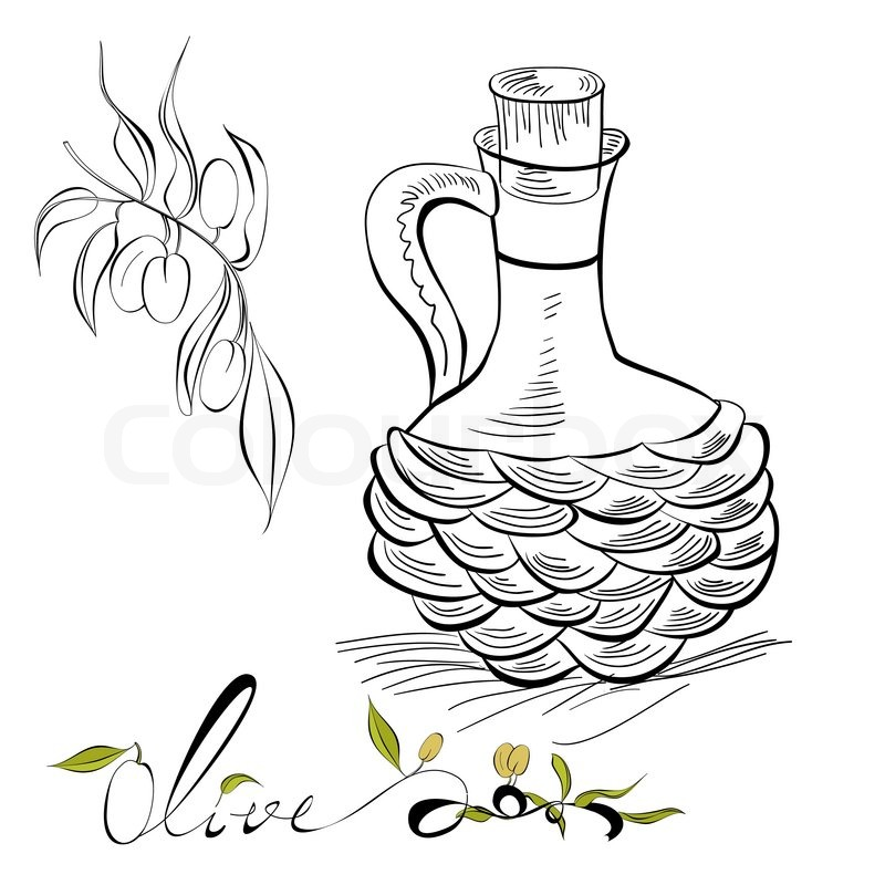 800x800 Olive And Pitcher With Olive Oil Stock Vector Colourbox