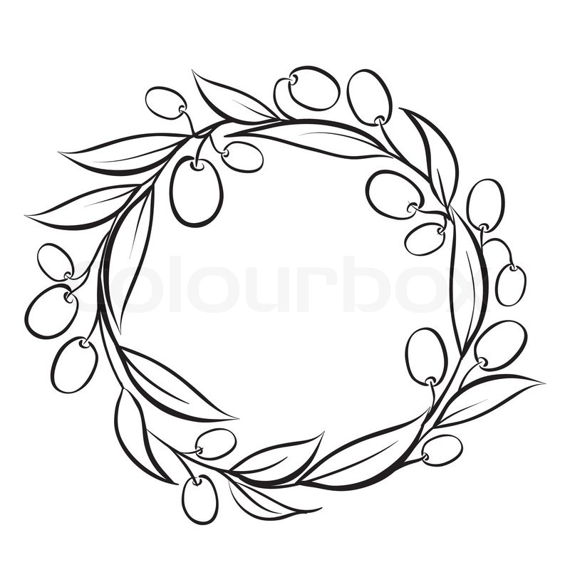 800x800 Olive Wreath Frame, Hand Drawn Paint. Vector Illustration. Stock