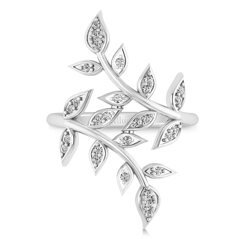 1500x1500 Diamond Olive Leaf Vine Fashion Ring 14k White Gold (0.28ct)