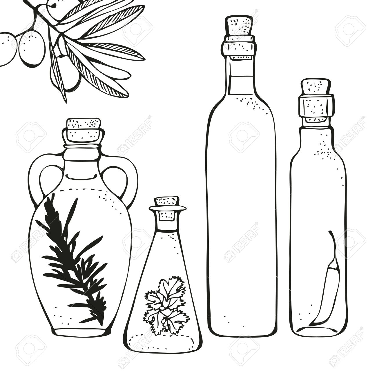 1300x1300 Olive Oil Glass Bottles Isolated On A White Background Royalty
