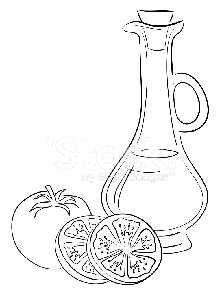 768x1024 Olive Oil And Tomatoes Stock Vector