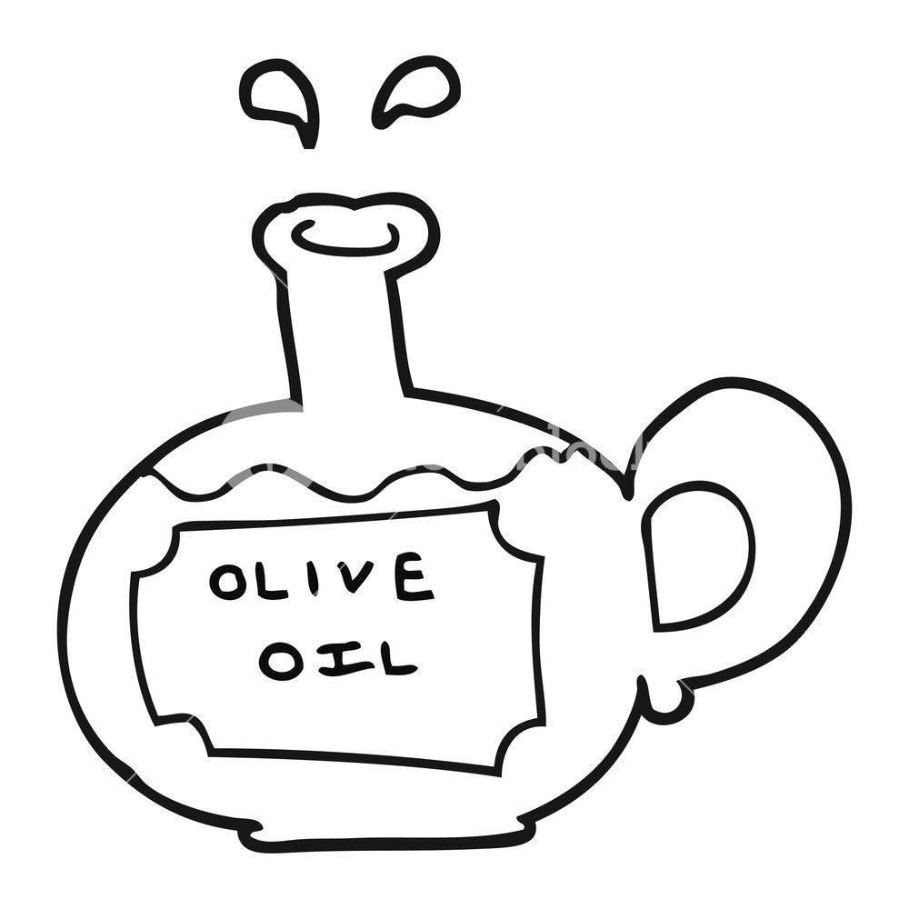 1000x1000 Freehand Drawn Black And White Cartoon Olive Oil Royalty Free