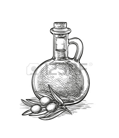 388x450 Bottle With Olive Oil. Vector Isolated Objects. Hand Drawn Poster