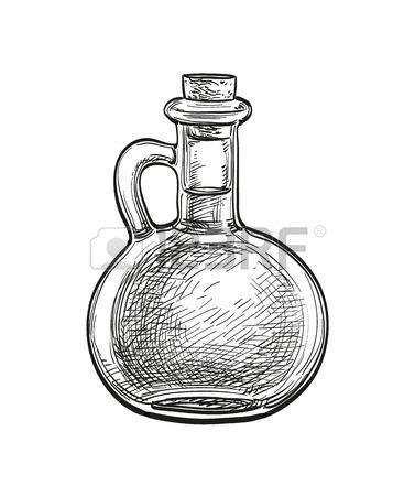 377x450 Chalk Sketch Of Olive Oil Bottle On Blackboard Background. Hand