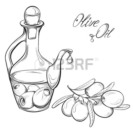 450x434 Hand Drawn Olive Oil And Olive Branch. Black And White Vector