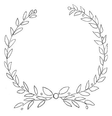 367x379 Olive Wreath Christmas Wreath Drawing Merry Christmas Amp Happy