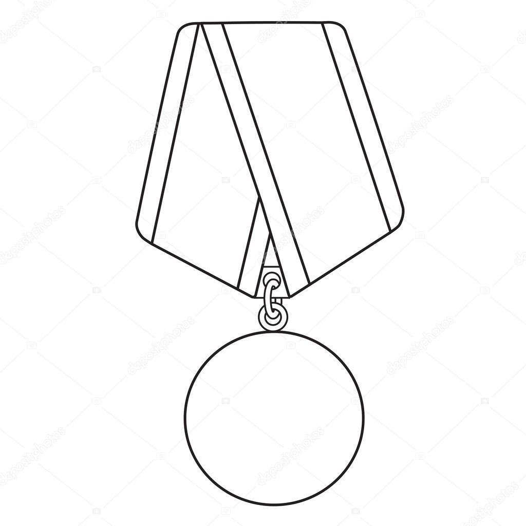 1024x1024 Medal Outline Drawing Stock Vector Viktorijareut