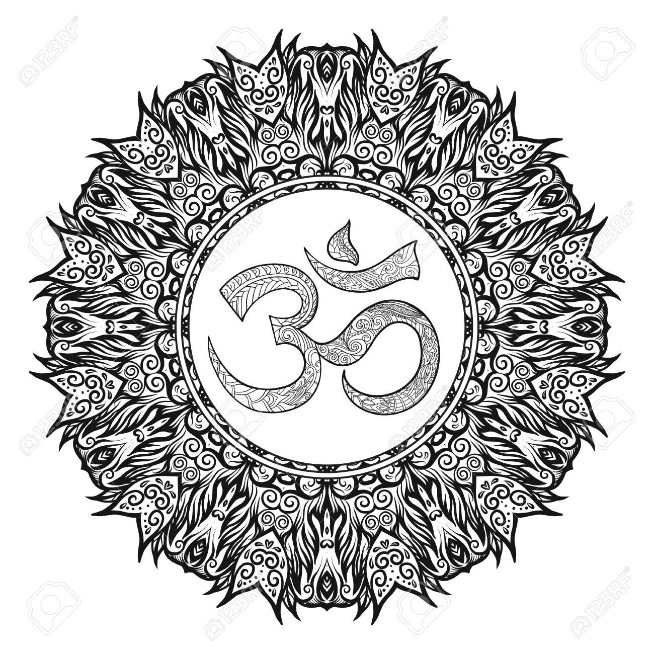 1300x1300 Deco Mandalawith Om Sign, Patterned Design Element, Ethnic Amulet