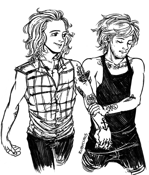 500x586 Larry Drawing One Direction Holding Hands, Otp