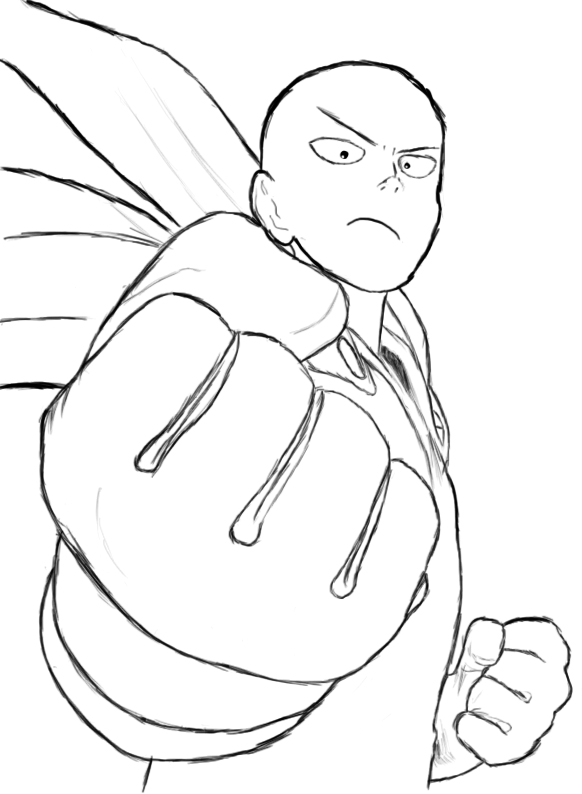 582x794e Punch Man Drawing By K A R L